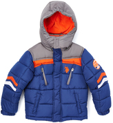 U.S. Polo Assn. Marina Blue & Orange Chevron Puffer Coat - Toddler & Boys