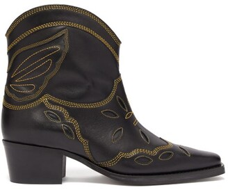 Ganni Texas Leather Ankle Boots - Womens - Black