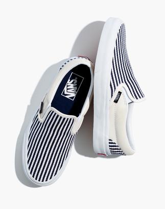 Madewell Vans Unisex Classic Slip-On Sneakers in Railroad Stripes