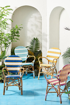 Anthropologie Belmar Striped Indoor/Outdoor Bistro Chair By in Blue Size ALL