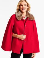 Talbots Faux Fur-Collar Cape