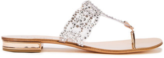 Casadei Metallic Leather-trimmed Crystal-embellished Pvc Sandals