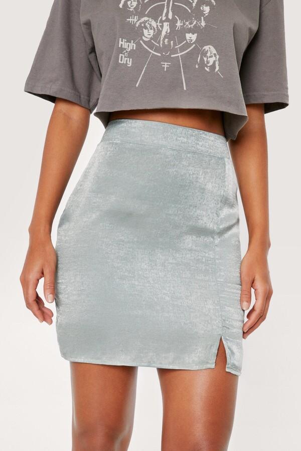 Thumbnail for your product : Nasty Gal Womens Split Hem Front Satin Mini Skirt - Green - 10