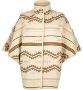 River Island Womens Cream geo pattern wool blend cape