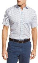 Peter Millar Seaside Sailboat-Print Short-Sleeve Sport Shirt, Blue