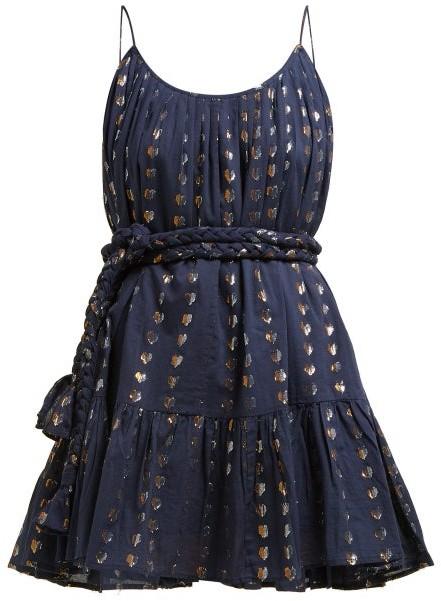Rhode Resort Nala Heart Jacquard Cotton Mini Dress - Womens - Navy