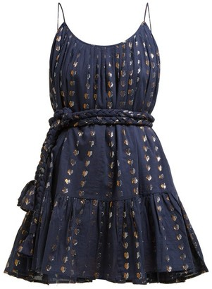 Rhode Resort Nala Heart-jacquard Cotton Mini Dress - Womens - Navy
