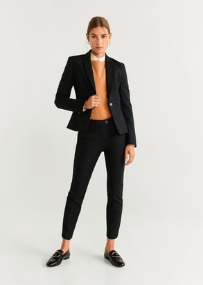 MANGO Straight cotton pants black - 8 - Women