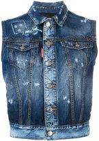 DSQUARED2 rough denim sleeveless jacket - women - Cotton/Spandex/Elastane - 40
