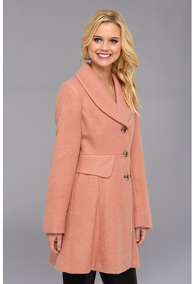 Kenneth Cole New York Single Breasted Button Front Boucle Coat