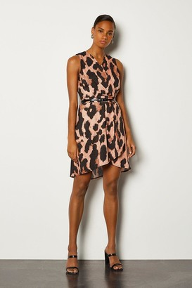 Karen Millen Leopard Sleeveless Wrap Short Dress