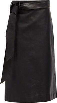 Balenciaga Wrap Leather Skirt - Black