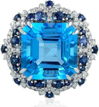 Artisan 18Kt White Gold Cocktail Ring Blue Sapphire Octagon Shape Topaz
