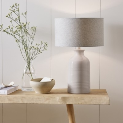 The White Company Ceramic Small Bottle Table Lamp, White, One Size