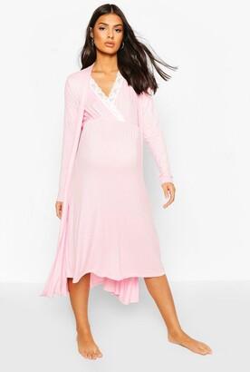 boohoo Maternity Nursing Nightie & Robe Set