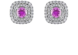 Heritage 18K 1.50 Ct. Tw. Diamond & Pink Sapphire Earrings
