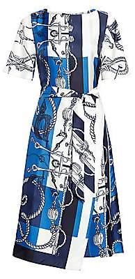 St. John Women's Mariner Scarf-Print Belted Silk Twill Midi Dress
