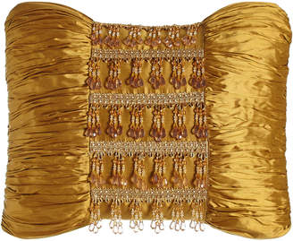 "Austin Horn Collection Royale Gold Silk Pillow with Beads, 13"" x 18"""