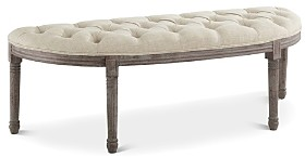 Modway Esteem Vintage French Upholstered Fabric Semi-Circle Bench