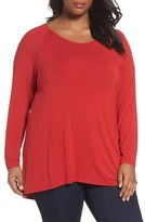 Sejour Plus Size Women's Long Sleeve Raglan Swing Tee