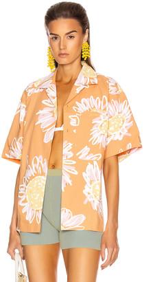 Jacquemus Jean Shirt in Orange Flowers Print   FWRD