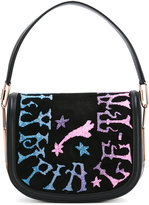 Olympia Le-Tan Griffin Embr Carson shoulder bag - women - Leather/Brass/Suede - One Size