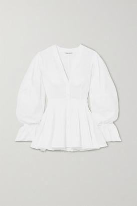 Alexander McQueen Cotton-poplin Peplum Blouse - White