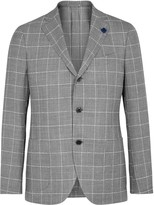 Lardini Checked Grey Wool Blend Blazer