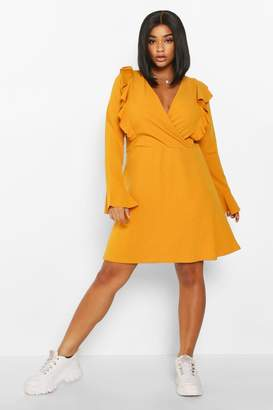 boohoo Plus Ruffle Wrap Front Skater Dress