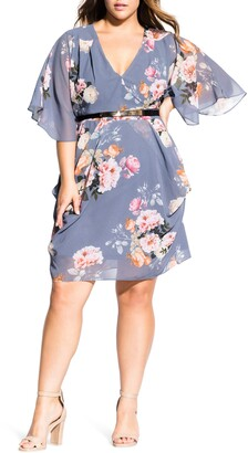City Chic Florence Floral Belted Wrap Style Dress