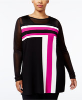 INC International Concepts Plus Size Colorblocked Tunic, Only at Macy's