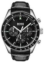 Hugo Boss Black-dial chronograph watch with embossed leather strap
