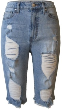 Tinseltown Juniors' High Rise Distressed Denim Bermuda Shorts
