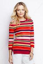 Lands' End Women's Tall Supima 3/4 Sleeve Crewneck Sweater-Punch Multi Stripe