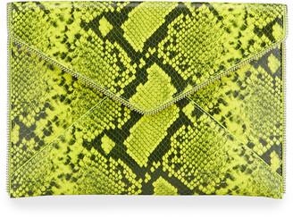 Rebecca Minkoff Leo Python-Embossed Envelop Clutch Bag