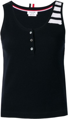 Thom Browne 4-Bar compact waffle tank top