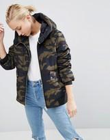 Asos Puffer Jacket In Camo Print