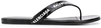 Balenciaga Crocodile Effect All-Over Logo Sandals