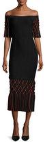 Jonathan Simkhai Dimensional Diamond Off-the-Shoulder Midi Dress