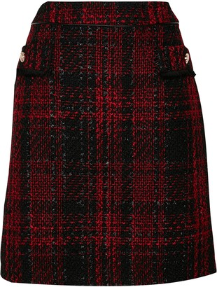 Wallis Red Checked Skirt