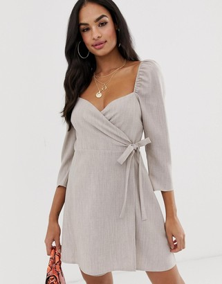 Asos Design DESIGN sweetheart neck wrap mini dress-Beige