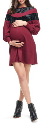 Maternal America Velvet Stripe Maternity Sweater Dress
