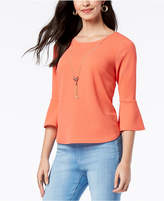 Thalia Sodi Textured Bell-Sleeve Necklace Top, Created for Macy's