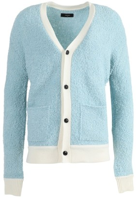 Amiri Light Blue Boucle Cardigan