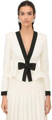 Alessandra Rich Two Tone Cool Wool Jacket W/ Bow