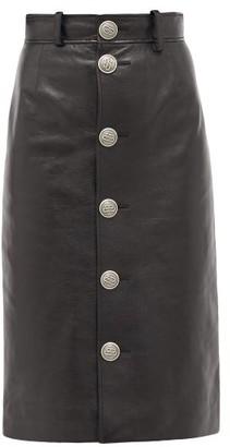 Balenciaga Button-front Grained-leather Midi Skirt - Black