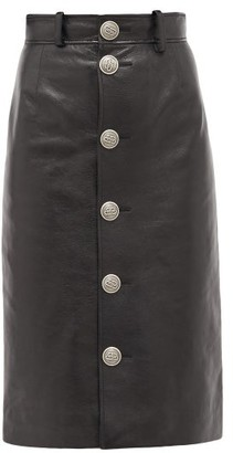 Balenciaga Button-front Grained-leather Midi Skirt - Womens - Black