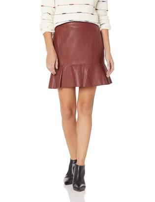 BCBGMAXAZRIA Women's Faux Leather Flounced Skirt