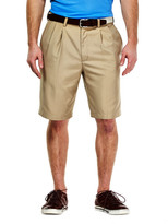 Haggar Cool 18 Oxford Short - Straight Fit, Pleated Front, Hidden Expandable Waistband