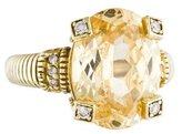 Judith Ripka 14K Canary Crystal & Diamond Cocktail Ring